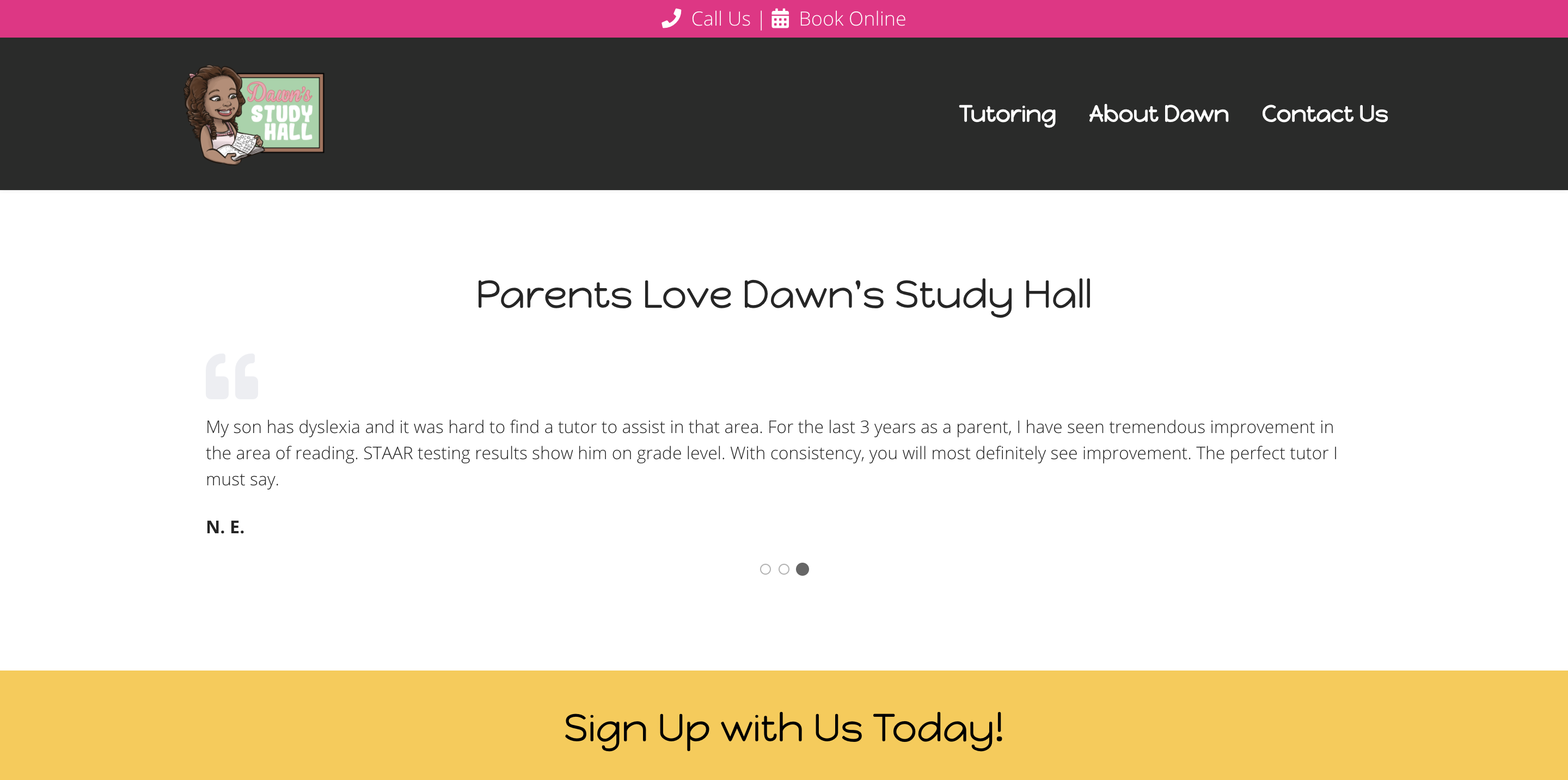 Dawn's Study Hall Homepage Testimonials