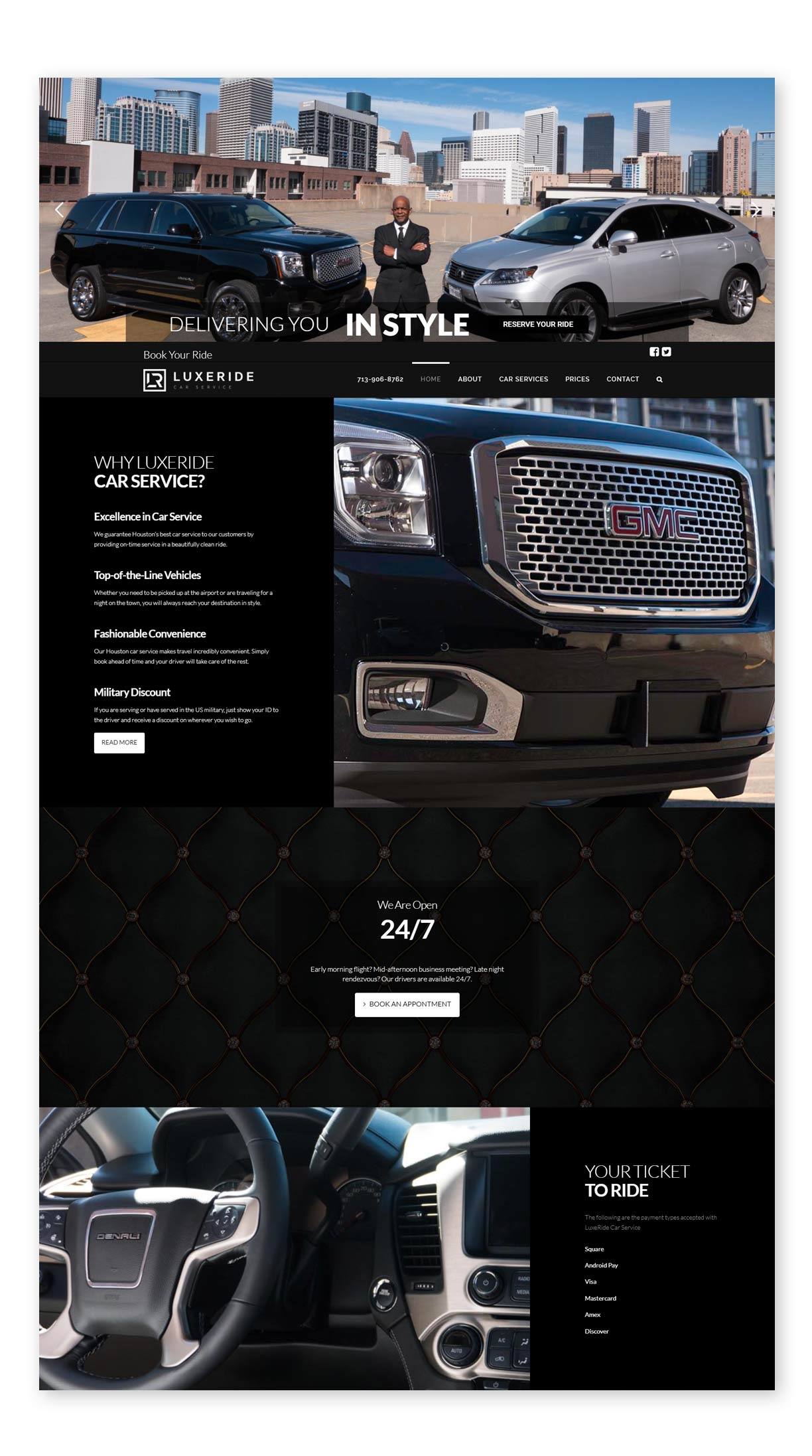 LuxeRide Car Service Website